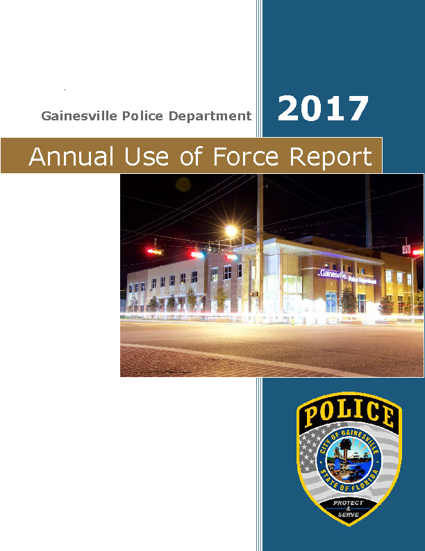 The 2017 Annual Use of Force Report Cover Page