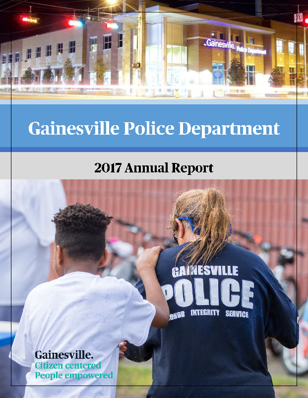 GPD 2017 Annual Report Image showing a female officer and a young African American child