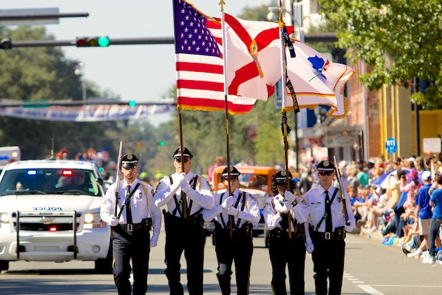 The GPD Honor Guard marching in the UF Homecoming Parade