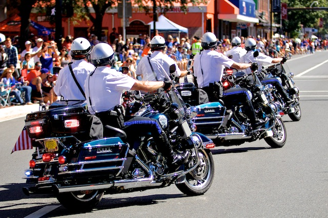 The GPD Traffic Team, our Motorcycle Unit, riding in the UF Homecoming Parade